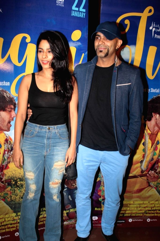 Television producer Raghu Ram with his wife and actress Sugandha Garg during the screening of film Jugni in Mumbai on Jan 18, 2016. - Sugandha Garg