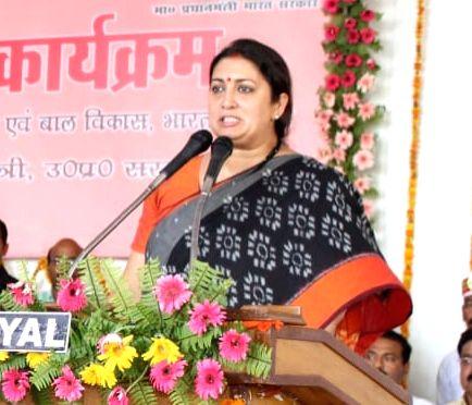 Teloi: Union Minister and Amethi BJP MP Smriti Irani addresses a public meeting at Teloi in Uttar Pradesh's Amethi on June 22, 2019. (Photo: IANS/PIB) - Smriti Irani