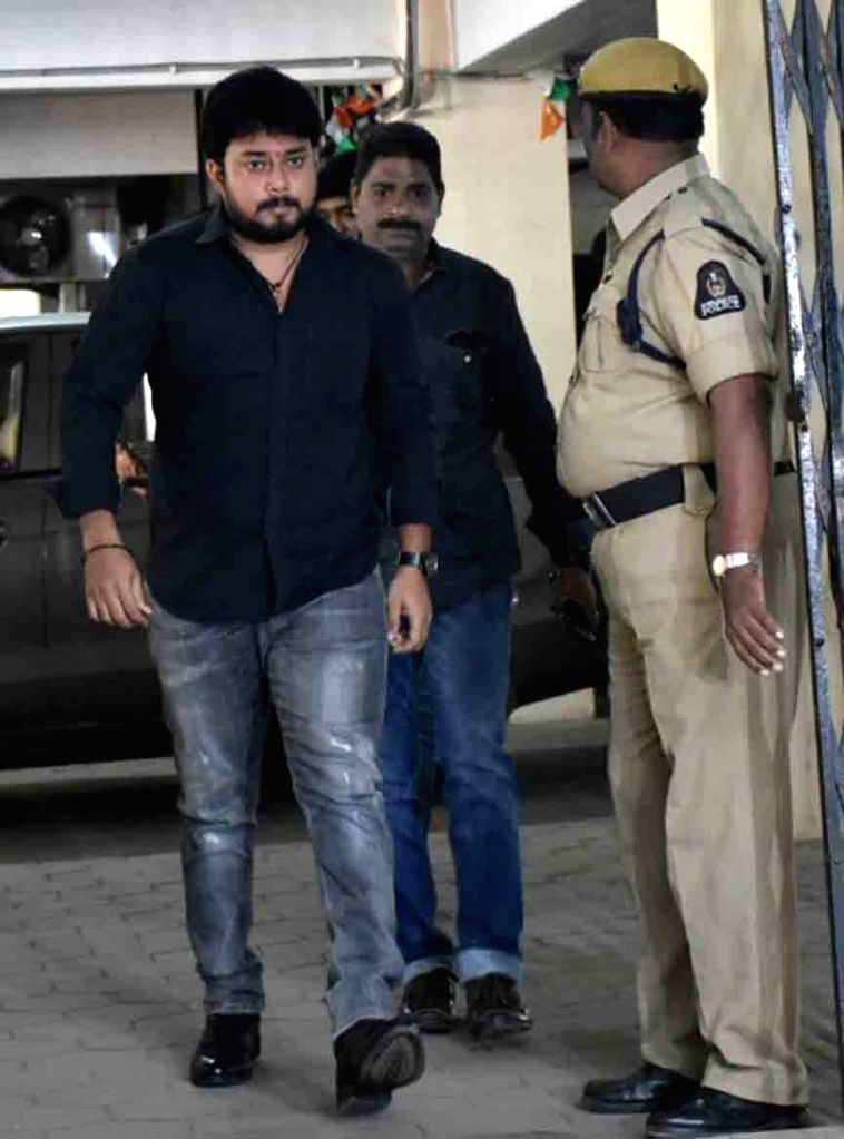 Telugu actor Tanish Alladi arrives to appear before Special Investigation Team (SIT) in connection with Hyderabad drug racket case; in Hyderabad on July 31, 2017. - Tanish Alladi