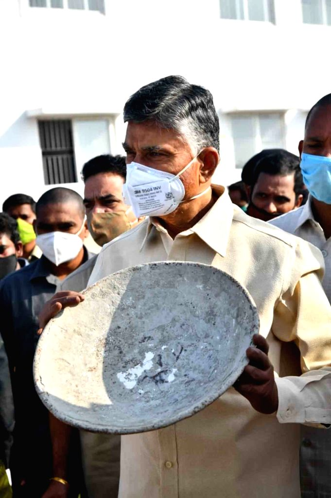 Telugu Desam Party leaders, led by party chief Chandrababu Naidu and his son Nara Lokesh, staged a protest against the shortage of sand and the new sand policy brought by the YSRCP ... - Jagan Mohan Reddy and Chandrababu Naidu
