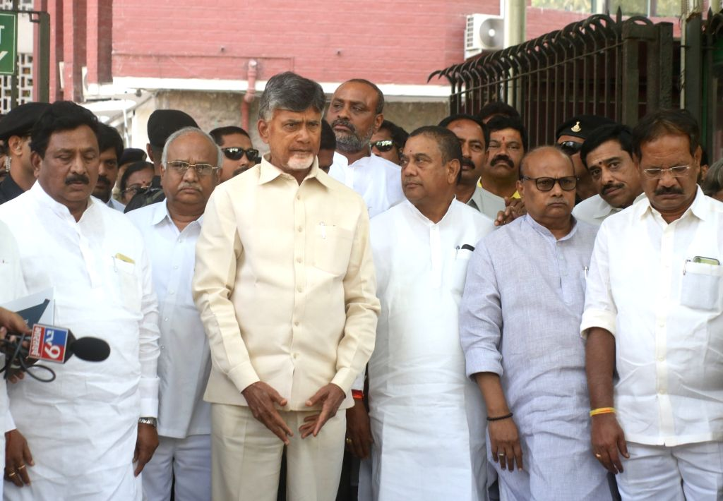 Telugu Desam Party (TDP) delegation led by its president and Andhra Pradesh Chief Minister N. Chandrababu Naidu, comes out after meeting the Chief Election Commissioner (CEC), in New Delhi ... - N. Chandrababu Naidu