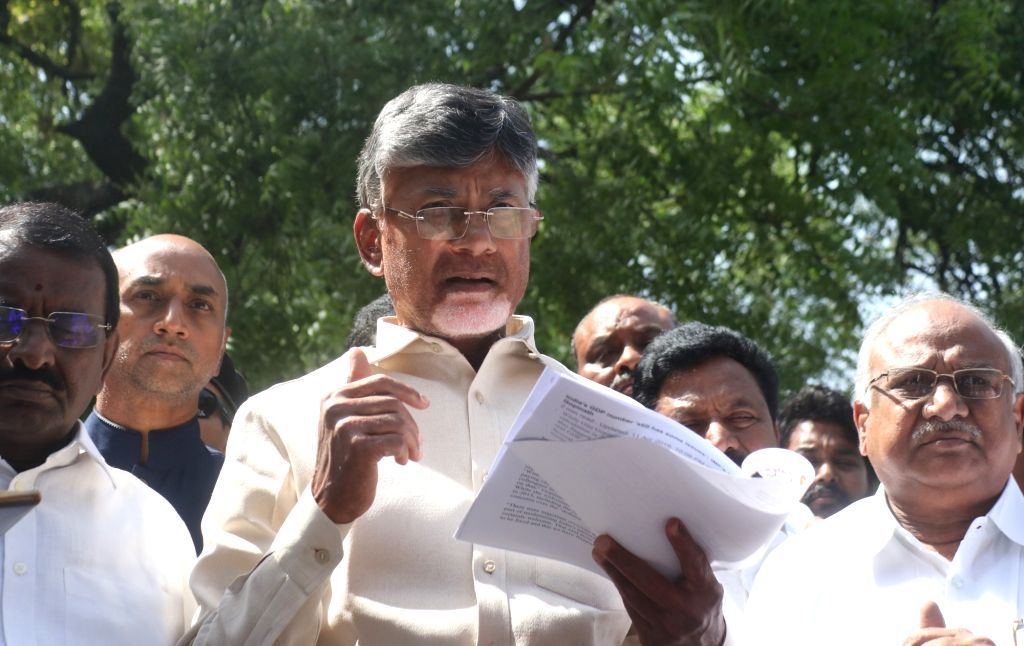 Telugu Desam Party (TDP) President and Andhra Pradesh Chief Minister N. Chandrababu Naidu talks to media persons after meeting the Chief Election Commissioner (CEC), in New Delhi on April ... - N. Chandrababu Naidu