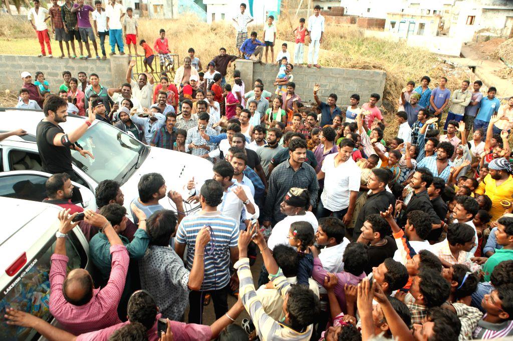 Telugu film actor Manchu manoj at vizag.