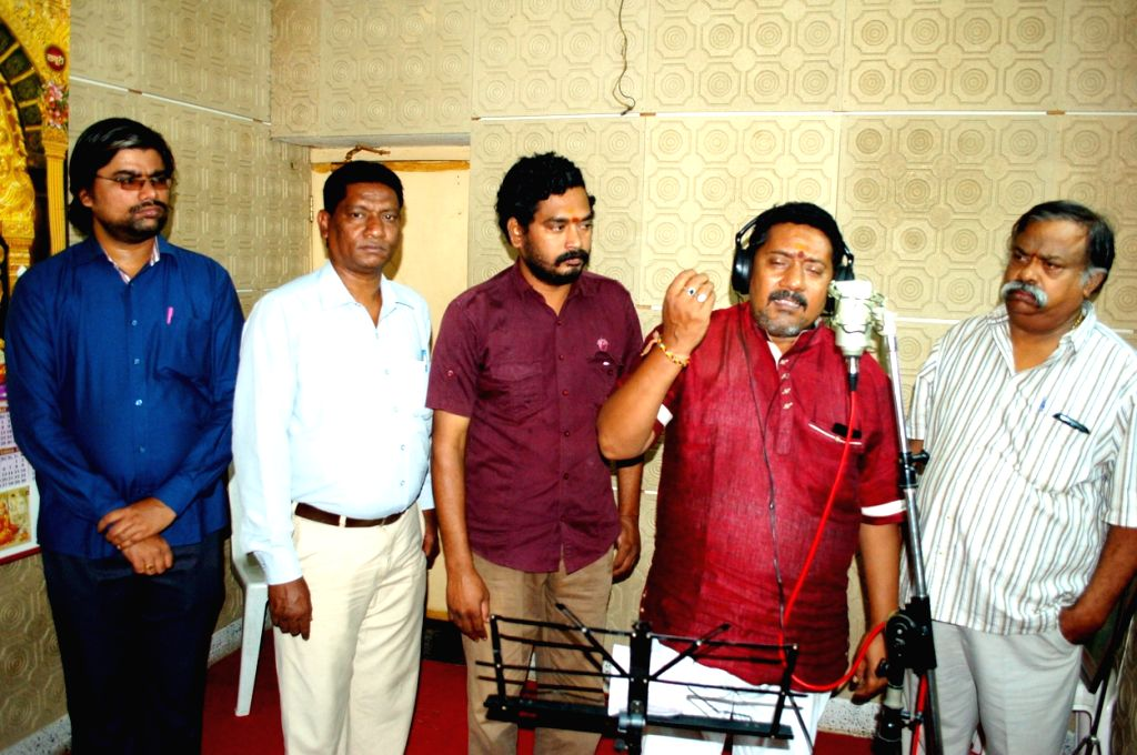 Telugu film Anand Nagar Aiduguru recording launch under Laxman Sai Music direction in Hyderabad.