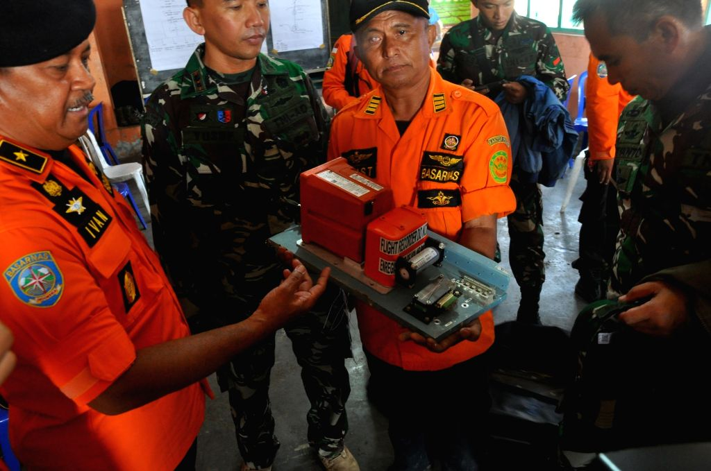 TEMANGGUNG(INDONESIA), July 3, 2017 Photo taken on July 3, 2017 shows the black box of the crashed National Search and Rescue Agency(BASARNAS) helicopter in Central Java province's ...
