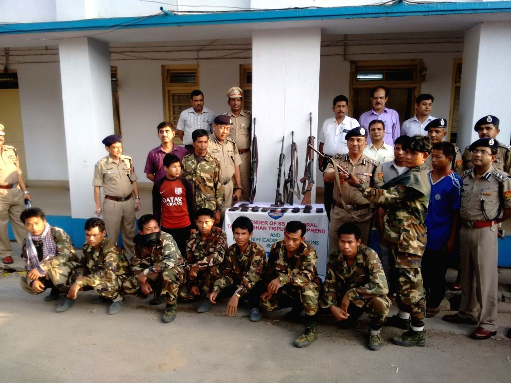 Ten NLFT militants who along with their two associates surrender before police in Agartala on April 11, 2016.