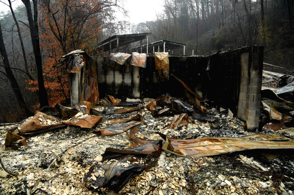 TENNESSEE (U.S.), Nov. 30, 2016 A house is ruined by a wildfire in Pigeon Forge, Sevier County, Tennessee, the United States, on Nov. 30, 2016. A wildfire sweeping through the central ...
