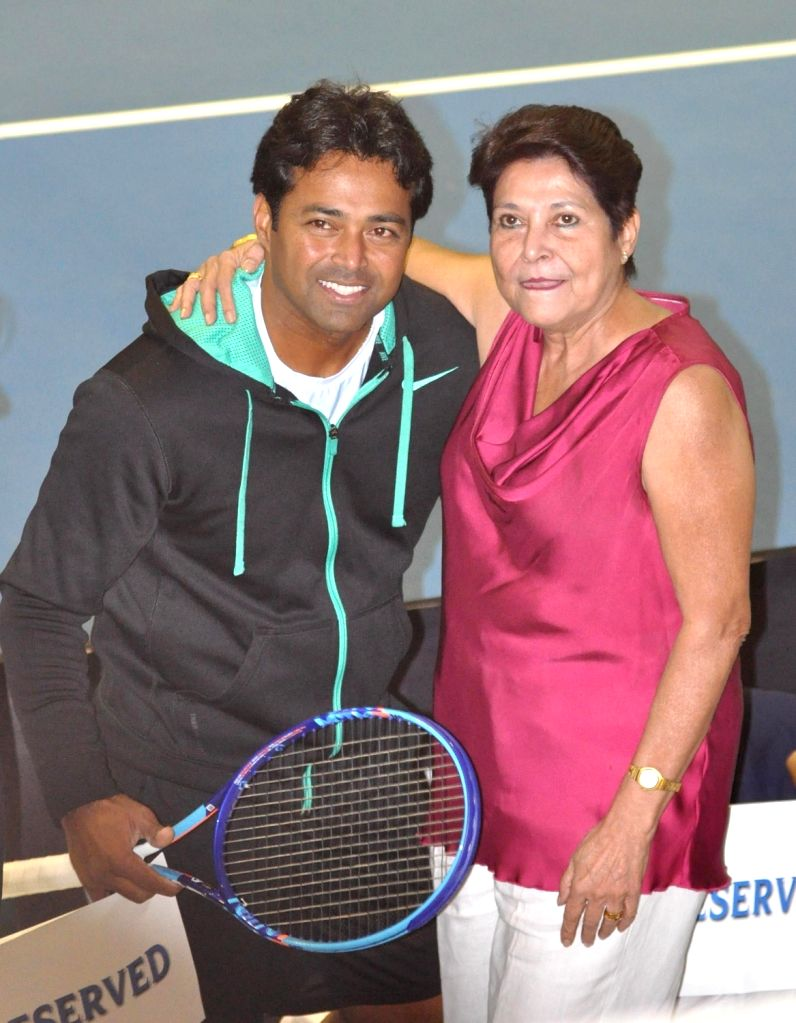 Tennis player Leander Paes with his mother Jennifer Paes during a Champions Tennis League (CTL) match in Kolkata, on Nov 25, 2015.