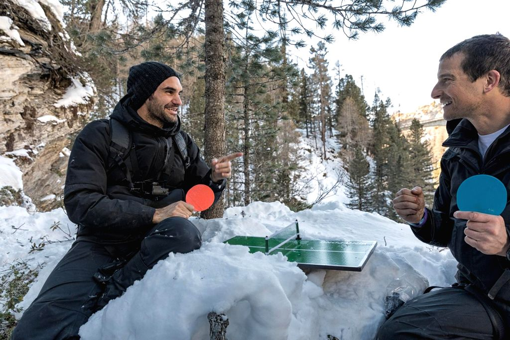 """Tennis player Roger Federer ventures into the Alps with adventurer Bear Grylls for Discovery channel's new series titled """"Running Wild with Bear Grylls"""" - a reality show where Grylls takes ..."""
