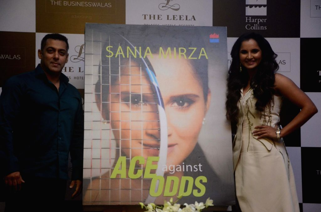 """Tennis player Sania Mirza and actor Salman Khan at the launch of Mirza's autobiography """"Ace Against Odds"""" in Mumbai on July 17, 2016. - Salman Khan and Sania Mirza"""