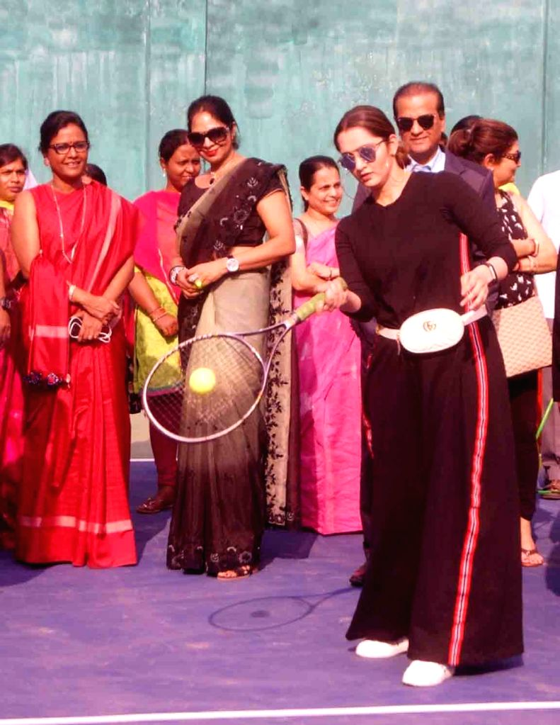 Tennis player Sania Mirza inaugurates a synthetic tennis court at Osmania Medical College in Hyderabad, on Feb 8, 2019. - Sania Mirza