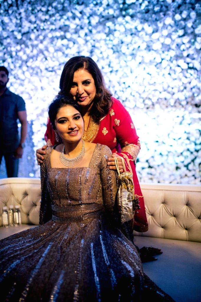 Tennis player Sania Mirza's sister Anam Mirza with filmmaker Farah Khan at her wedding reception in Hyderabad on Dec 12, 2019. - Sania Mirza, Anam Mirza and Farah Khan