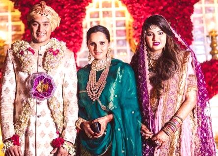 Tennis player Sania Mirza with the newly weds - her sister Anam Mirza and Former India captain Mohammad Azharuddin's son Mohammad Asaduddin. - Mohammad Azharuddi, Sania Mirza, Anam Mirza and Azharuddin