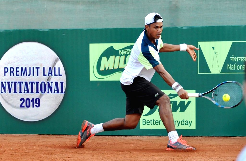 "Tennis player Somdev Devvarman in action during ""Premjit Laill Invitational 2019"" tennis tournament in Kolkata on Dec 5, 2019."
