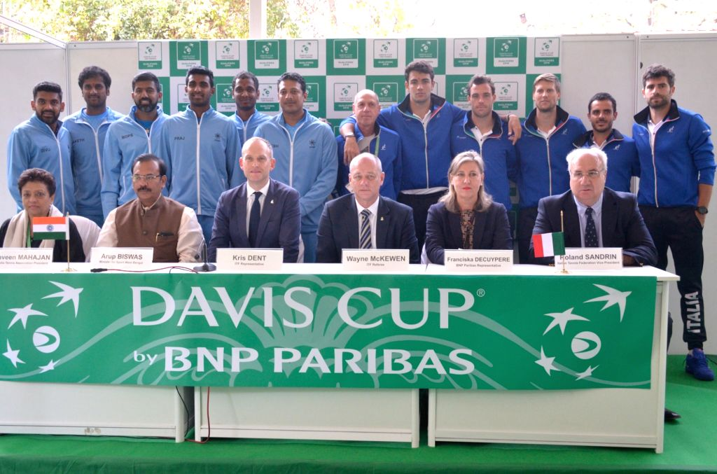 Tennis players of India and Italy with officials at the draw ceremony ahead of Davis Cup World Group qualifier between India and Italy on February 1-2, in Kolkata, on Jan 31, 2019.
