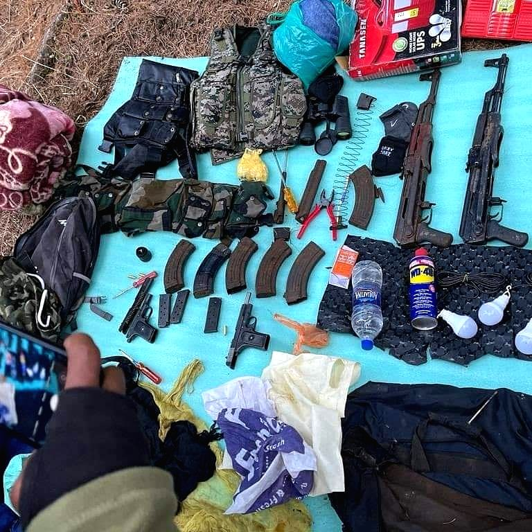 Terrorist hideout busted in Kashmir, weapons recovered.