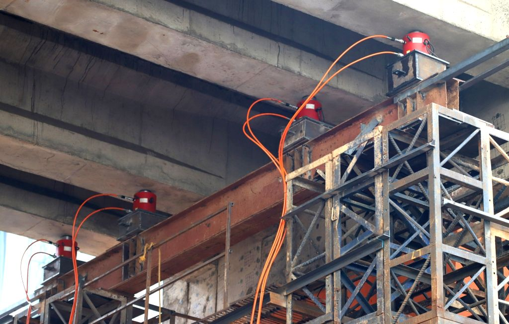 Tests being carried out on Bengaluru Metro near Trinity Station on Dec 14, 2018.