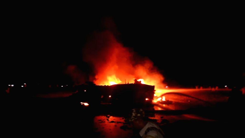 Tezpur: IAF's Sukhoi MKI 30 crashes in Assam's Tezpur on Aug 8, 2019. (Photo: IANS)