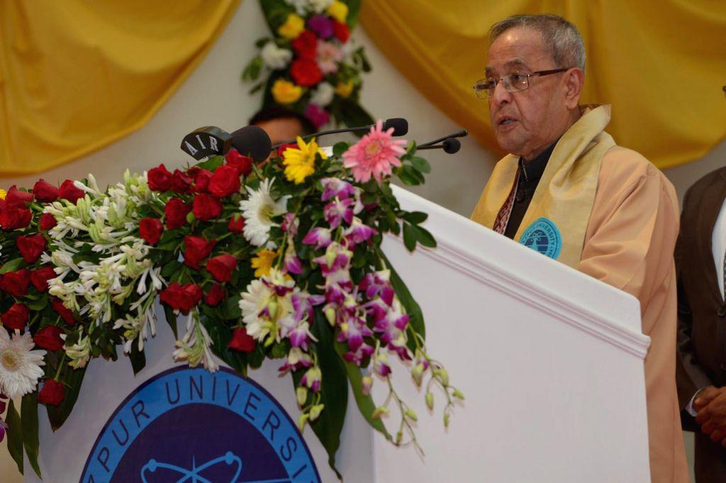 President Pranab Mukherjee addresses during the 12th Convocation of Tezpur University at Tezpur, Assam on Nov 20, 2014.