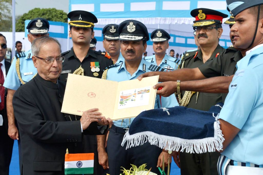 President Pranab Mukherjee with the Chief of the Air Staff, Chairman COSC, Air Chief Marshal Arup Raha and others during a programme organised to present President's standards to the 115 HU .. - Pranab Mukherjee