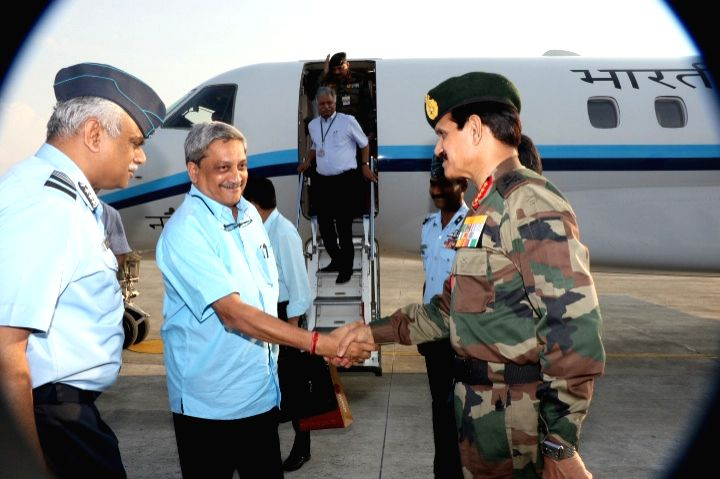 Union Defence Minister Manohar Parrikar being received by the Chief of Army Staff, General Dalbir Singh, at Tezpur Air Force Station on May 1, 2015. - Dalbir Singh