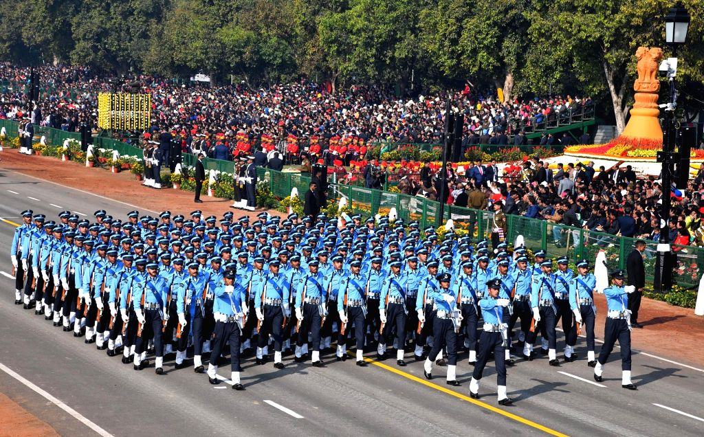 Th Air Force contingent marches on Rajpath during 2019 Republic Day Parade in New Delhi, on Jan 26, 2019.