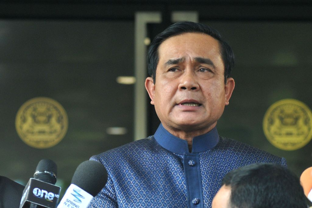Thai Prime Minister Prayuth Chan-ocha speaks to reporters at the Government House in Bangkok Aug. 18, 2015. Prayuth Chan-ocha on Tuesday promised the authorities ... - Prayuth Chan