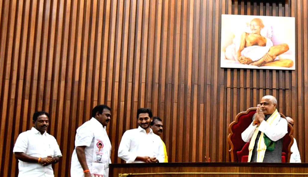 Thammineni Seetharam of the YSR Congress Party (YSRCP) greets MLAs after being unanimously elected as the Speaker of Andhra Pradesh Legislative Assembly on the second day of the first ... - Y.