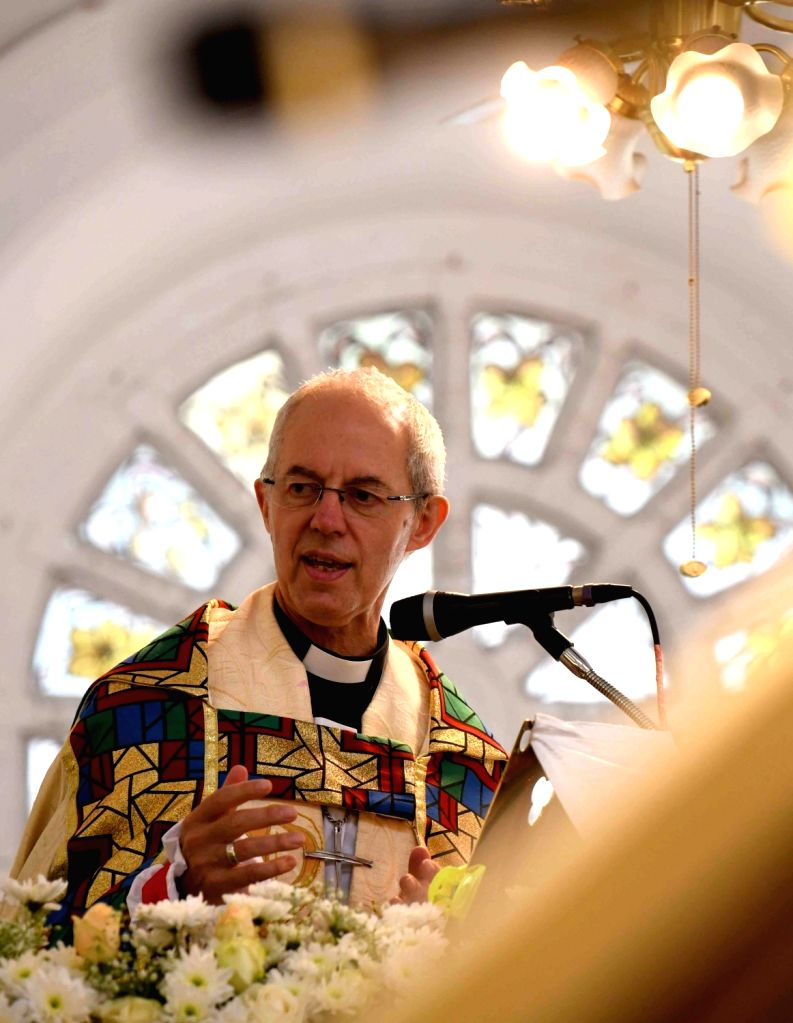The 105th Archbishop of Canterbury Justin Welby conducts the holy communion mass and shares the sermon at St. Marks Cathedral in Bengaluru on Sep 4, 2019.