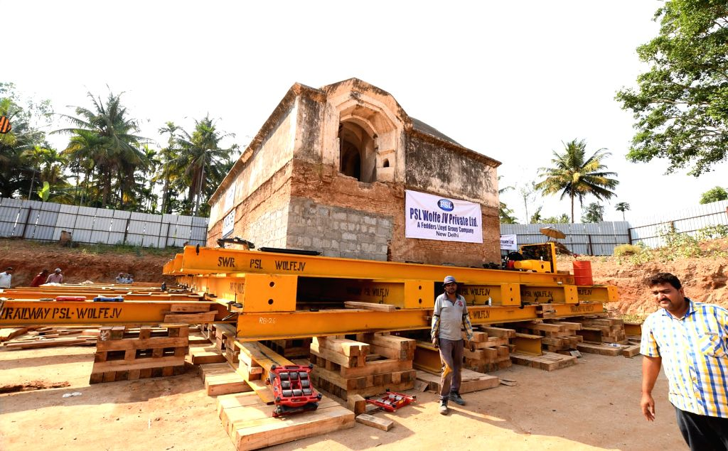 The 225 years old Tipu Sultan's Armoury which was built to store gunpowder and weapons being moved to build a new railway tracks between Bengaluru and Mysuru; at Srirangapatna in ...