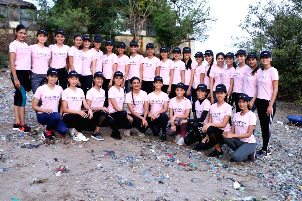 The 30 State winners of fbb Colors Femina Miss India 2019 during beach cleaning initiative, in Mumbai.