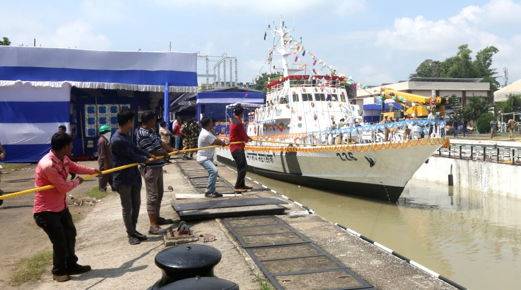 The 5th Fast Patrol Vessel for Indian Coast Guard that was launched at GRSE in Kolkata on Aug 10, 2019.