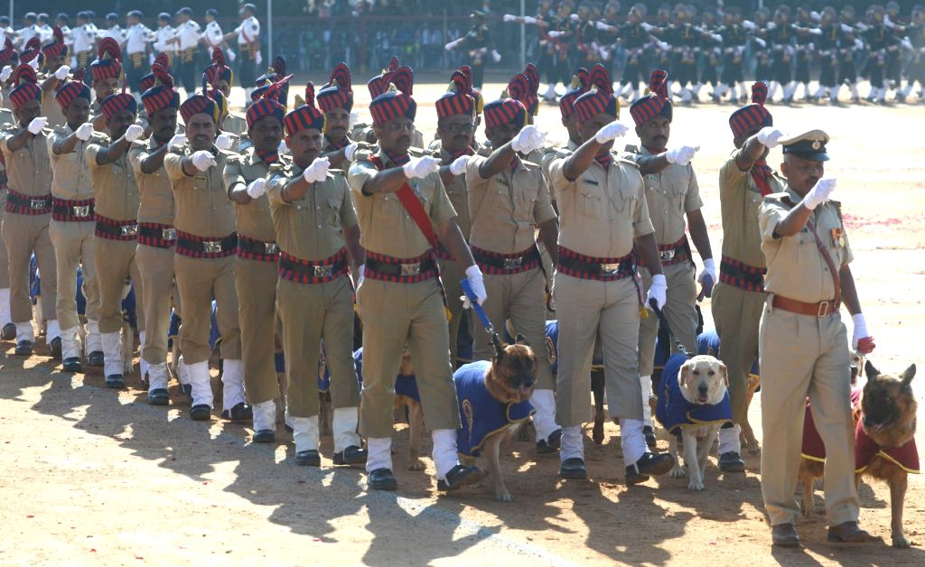 The 71st Republic Day parade underway at Manekshaw Parade Ground in Bengaluru on Jan 26, 2020.
