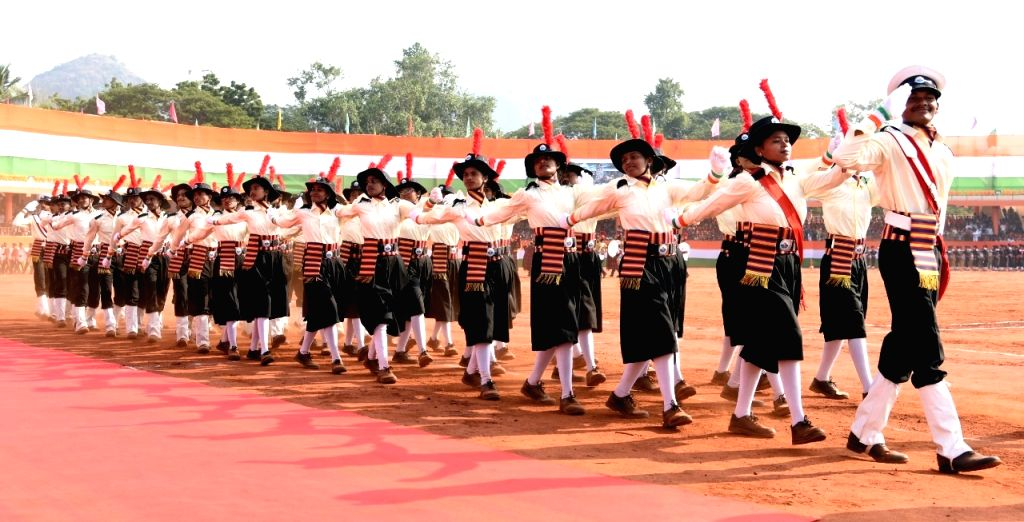 The 71st Republic Day parade underway at the Indira Gandhi Municipal corporation stadium in Vijayawada on Jan 26, 2020. - Indira Gandhi Municipal