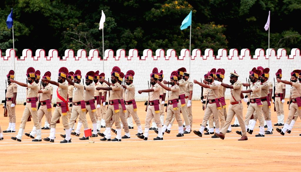 The 74th Independence Day parade underway at Manekshaw Parade Grounds in Bengaluru on Aug 15, 2020.