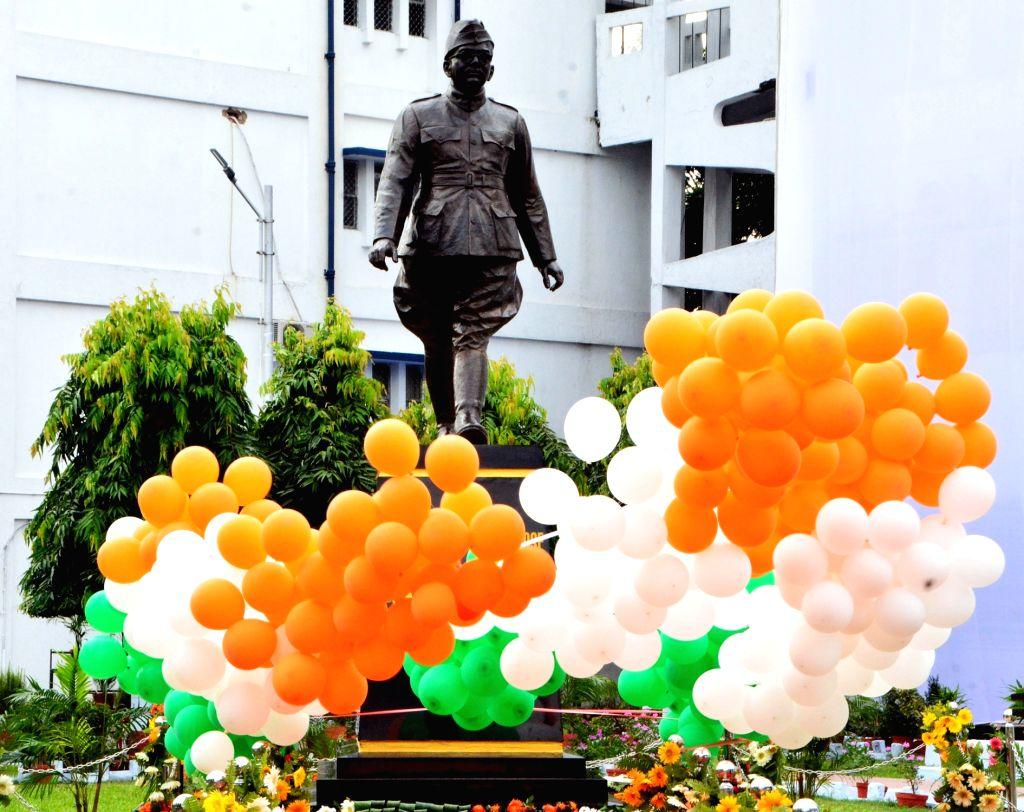 The 8 ft. tall bronze statue of Netaji Subhas Chandra Bose at the Naval establishment in Kolkata on Sept 10, 2017.