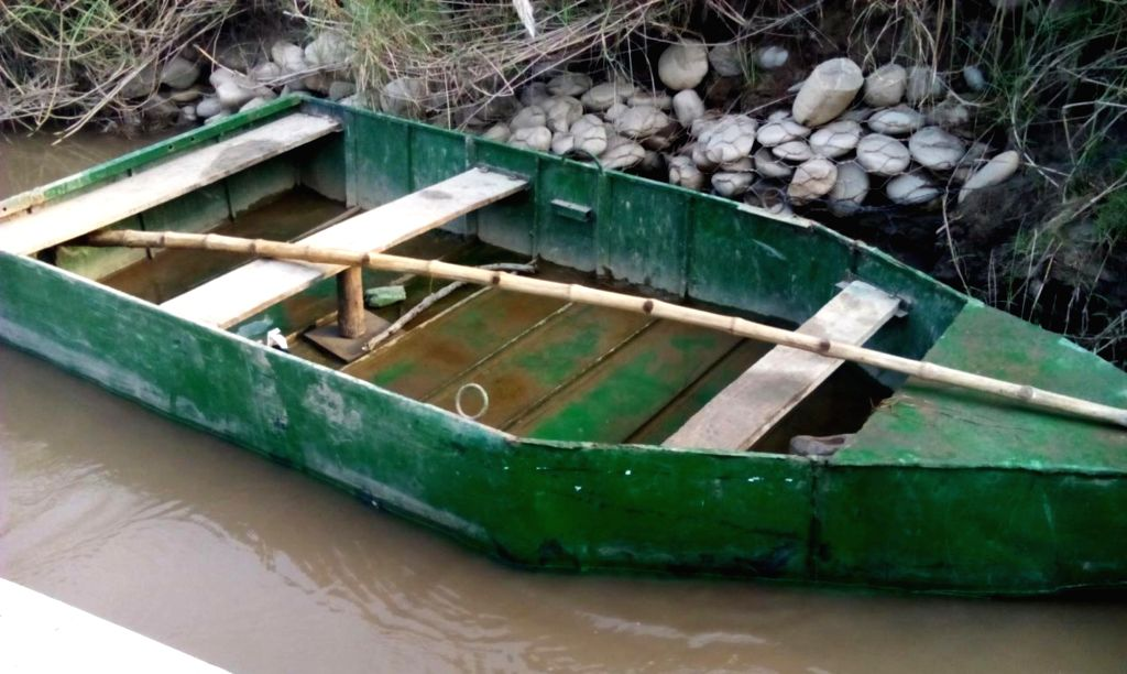 The abandoned Pakistani boat that was seized by Border Security Force (BSF) from the Ravi river in the border belt of Punjab's frontier district of Gurdaspur on Oct 4, 2016.