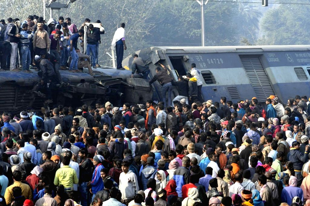 The accident site where 11 coaches of the Delhi-bound Seemanchal Express derailed in Bihar's Vaishali district, killing seven people and injuring 27 others, on Feb 3, 2019.