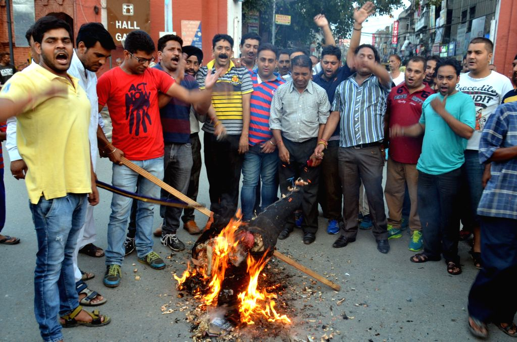 The activists of Amarnath Sewa Mandal protests against J&K Government for allegedly enforcing the hindu devotes to close their langer (community kitchen) at Baltal in Amritsar on July ...