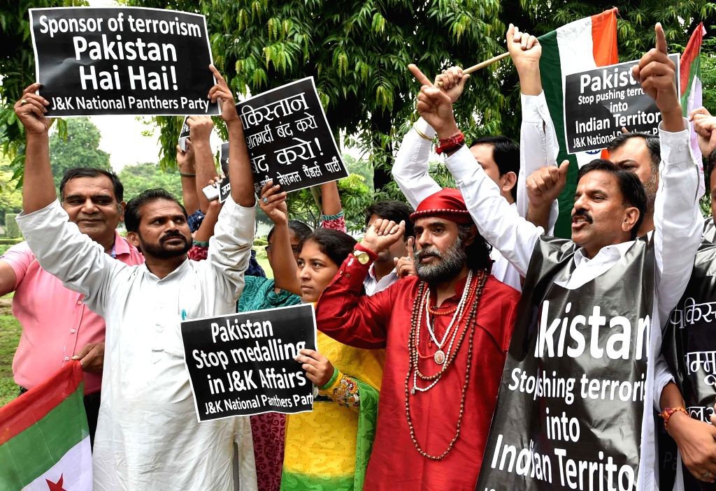 The activists of Jammu and Kashmir National Panthers Party (JKNPP) stage a demonstration against Pakistani government in front of Pakistan Embassy in New Delhi on Aug 8, 2015.