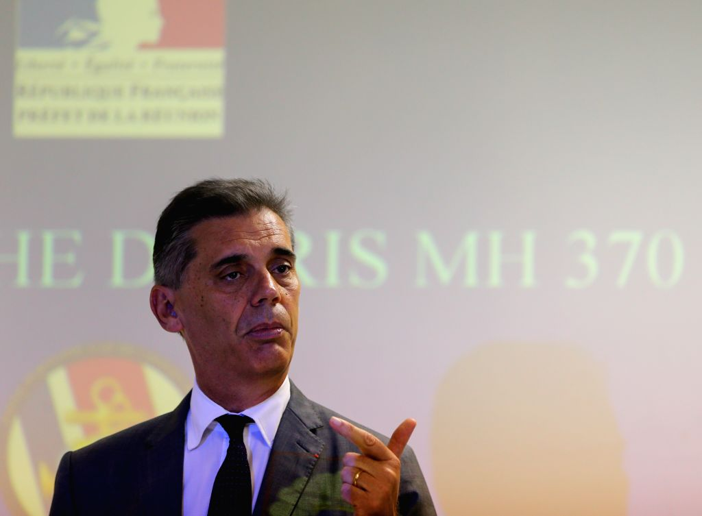 The administrator of Reunion Island Dominique Sorain speaks during a press conference in Saint Denis, La Reunion, Aug. 14, 2015. The administrator of Reunion ...