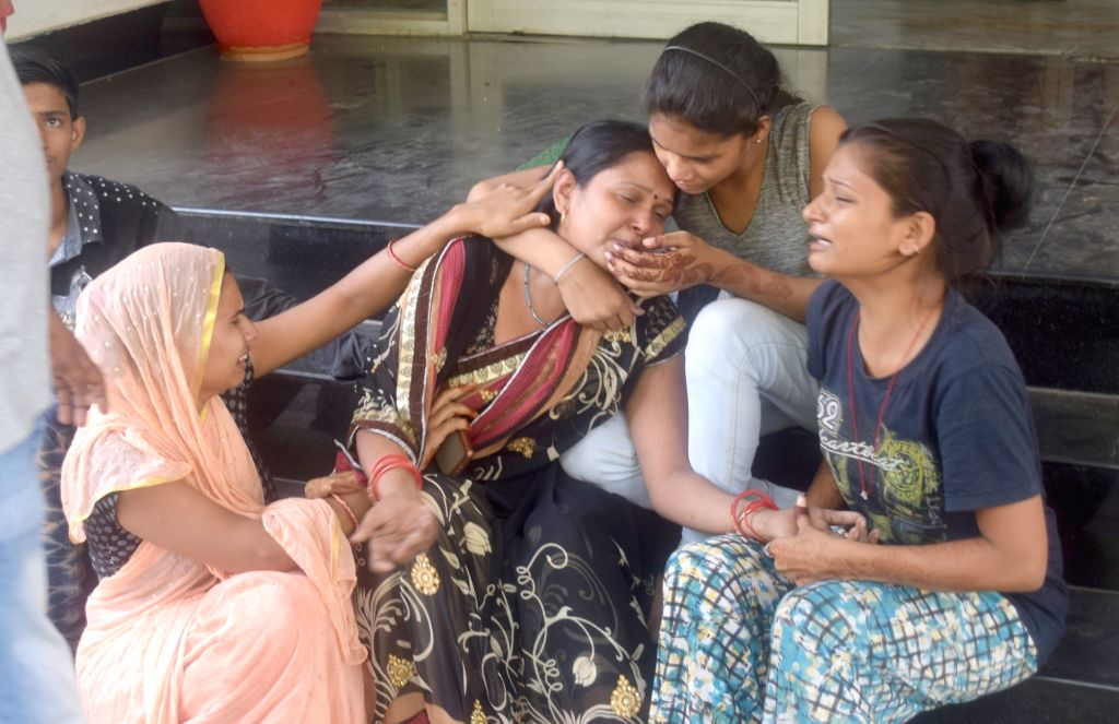 The aggrieved relatives of those who died in a bus accident in Uttar Pradesh's Mathura, on June 3, 2019. Four people died and more than 25 were injured in the accident. According to the ...