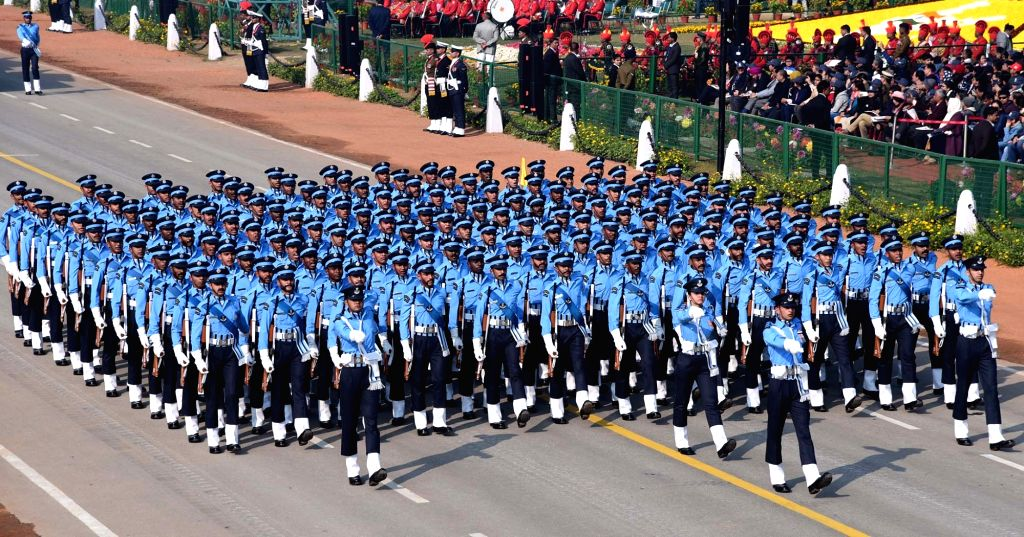 The Air Force Marching Contingent passes through the Rajpath during the 71st Republic Day parade in New Delhi on Jan 26, 2020.