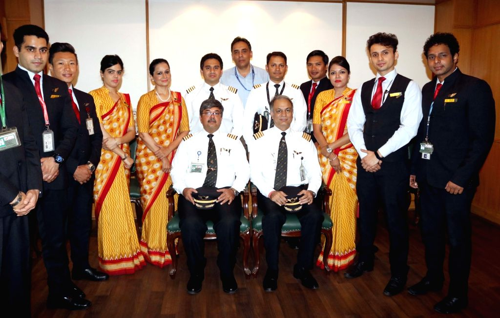The Air India crew that traveled around the world during a press conference in New Delhi, on Oct 21, 2016.