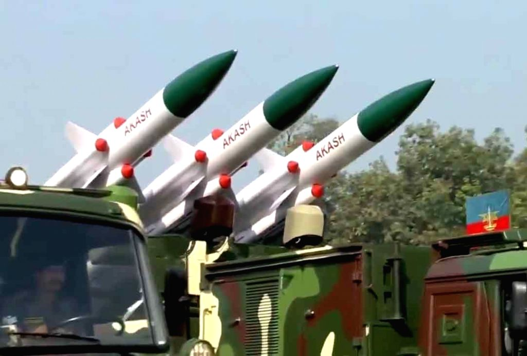 The Akash missile system rolls down the Rajpath during the 71st Republic Day parade, in New Delhi on Jan 26, 2020.