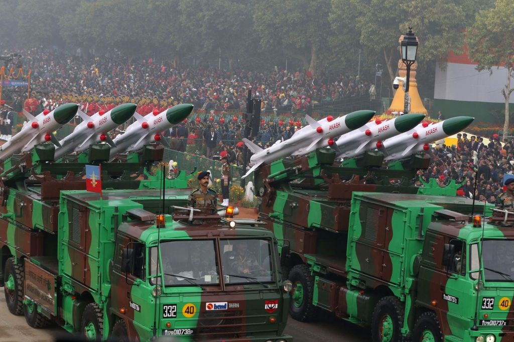 The Akash weapon system of 27 Air Defence Regiment (Amritsar Air Field) on Rajpath during Republic Day Parade 2018, in New Delhi Jan 26, 2018.