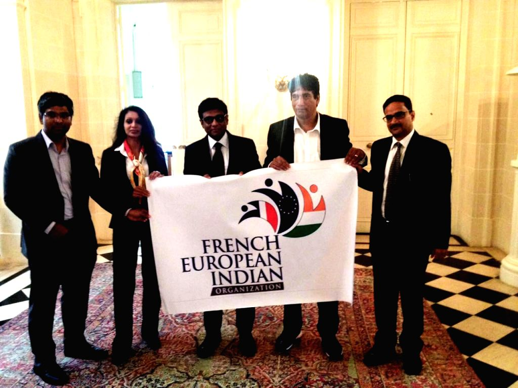 The Ambassador of India to France Dr. Mohan Kumar, French European-Indian Organisation President Satish Reddy, First Secretary (Press and Culture) Lavanya Kumar and First Secretary (Community ... - Mohan Kumar, Satish Reddy and Lavanya Kumar