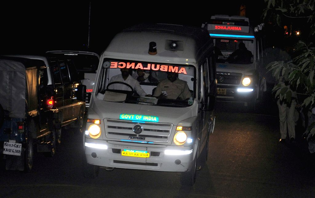 The ambulance carrying the dead body of a 22-year-old prisoner who snatched a gun and opened indiscriminate fire at National Institute of Mental Health and Neurosciences (NIMHANS) campus ...