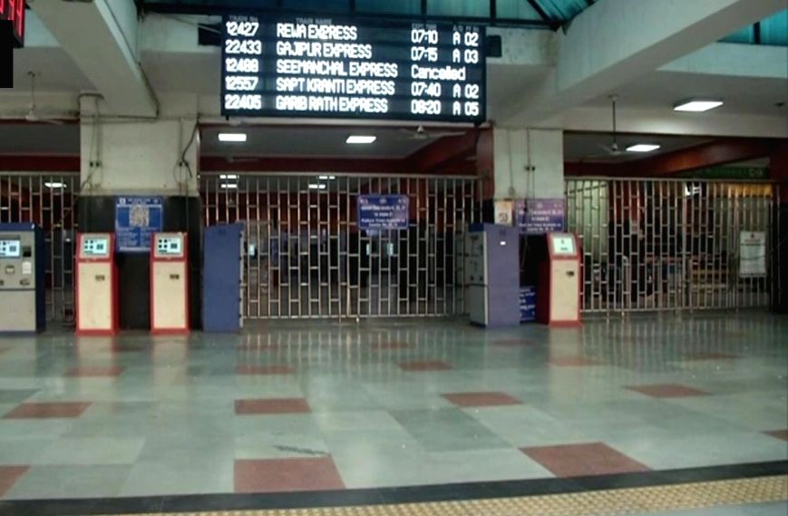 The Anand Vihar Railway Station bears a deserted look during 'Janata Curfew' in New Delhi on March 22, 2020.