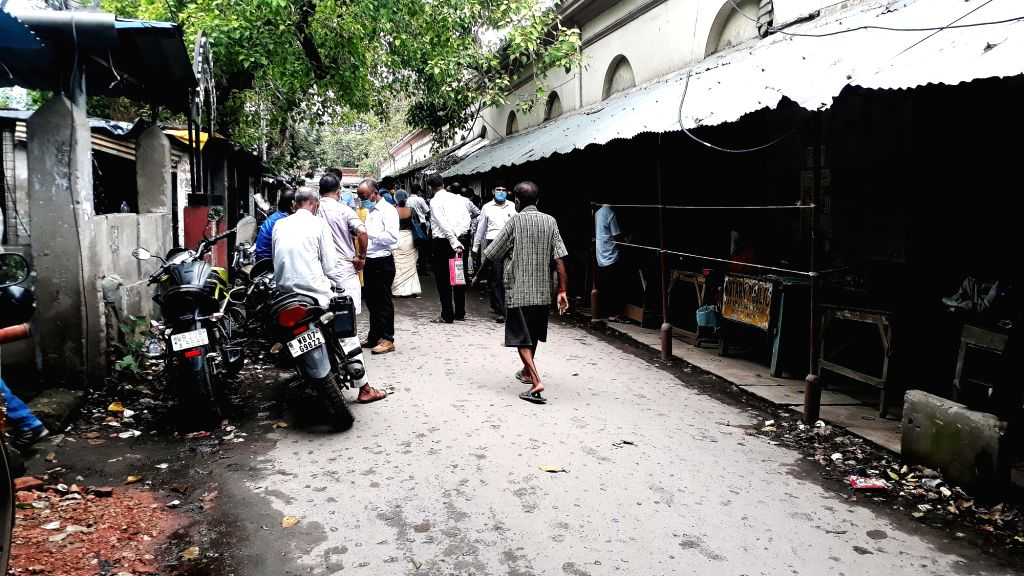 The area around the Alipore court bustling with people during Unlock 2.0 during the fifth phase of the nationwide lockdown imposed to mitigate the spread of coronavirus, in Kolkata on July ...